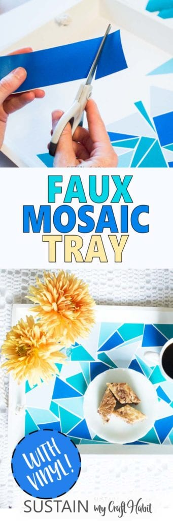 Collage of images showing the faux mosaic serving tray made with adhesive vinyl