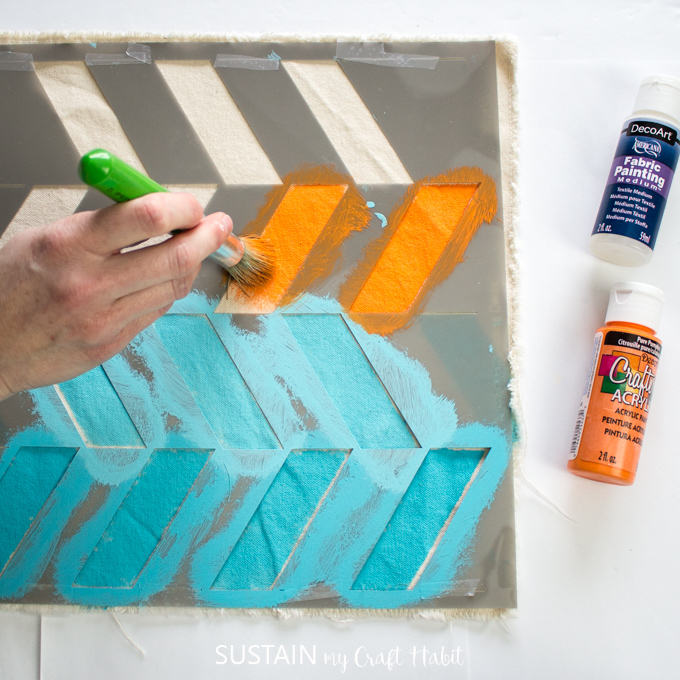 Painting Fabric to Make a Modern Table Runner – Sustain My