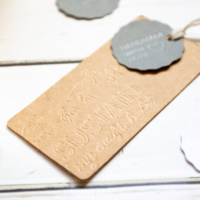 Close up image showing the detail of the debossed DIY product tags.