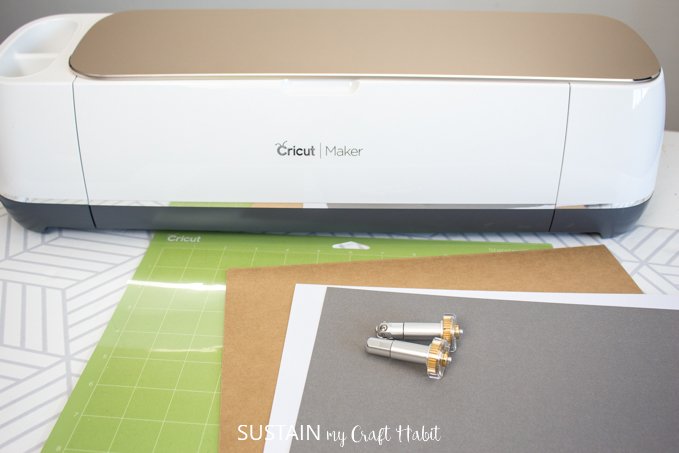 Materials needed to make the DIY product tags with the Cricut Maker.