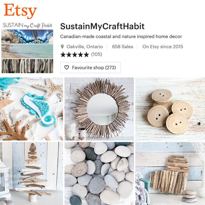 Collage of products available in Sustain My Craft Habit's Etsy Shop including a driftwood mirror, wood buttons, beach stones and more.