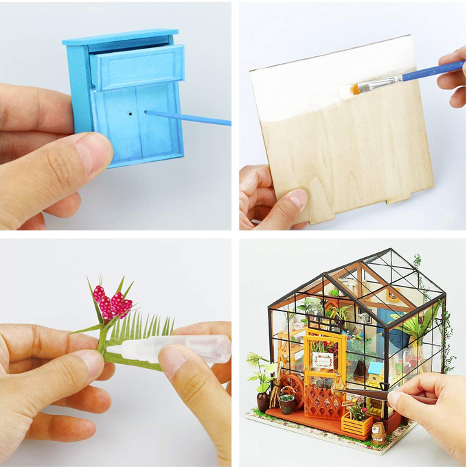 Assembling, painting and gluing small furniture together and placing it into a miniature greenhouse.