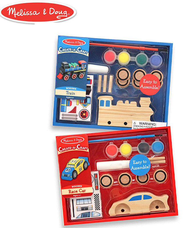 A red and blue coloring kit. the top kit is blue and includes a wooden train, paint brush and paints. The bottom kit is red and includes a wooden train, paint brush and paint.