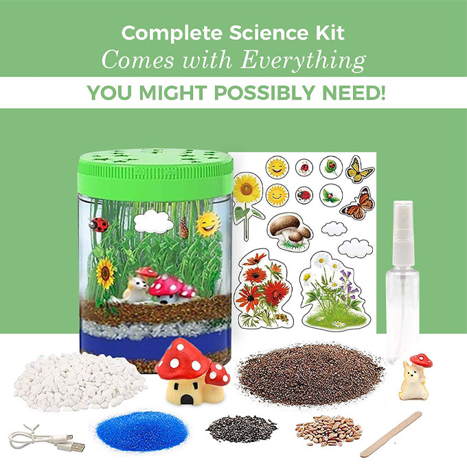 A light up terrarium and all of the pieces disassembled beside it to show what you get inside the kit.
