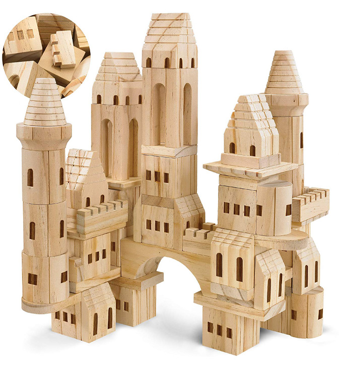 Wooden blocks assembled to make a wooden castle.