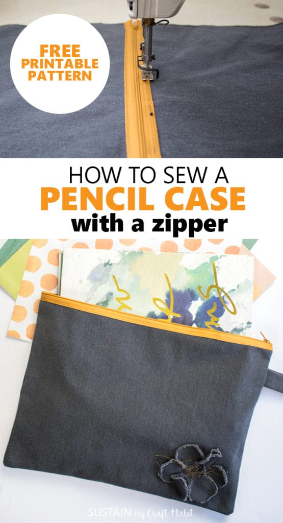how to sew a pencil case with a a zipper
