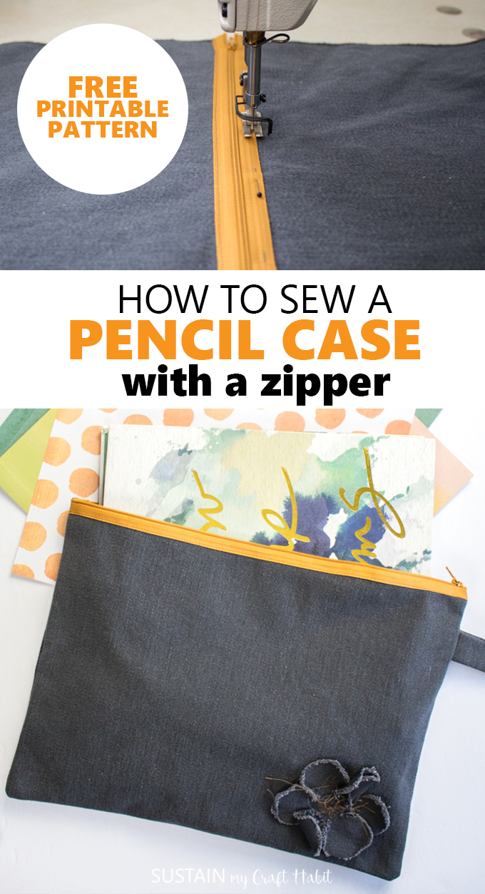 Collage of images demonstrating how to sew a pencil case with a zipper