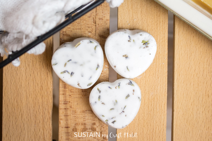 Close up image of the completed heart shaped shower steamers.