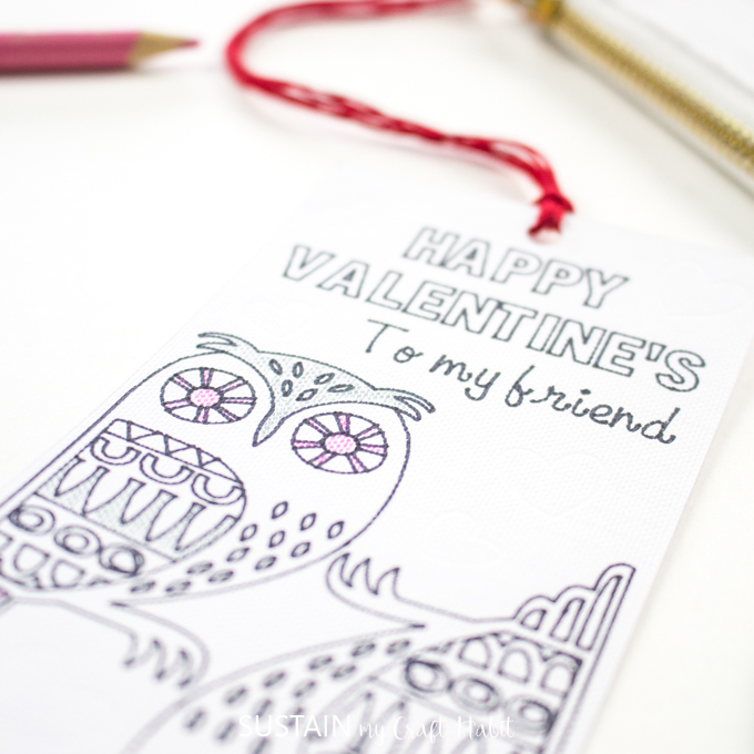 Close up image of the Valentines Day coloring bookmark showing detail of the linen-type texture of the paper.