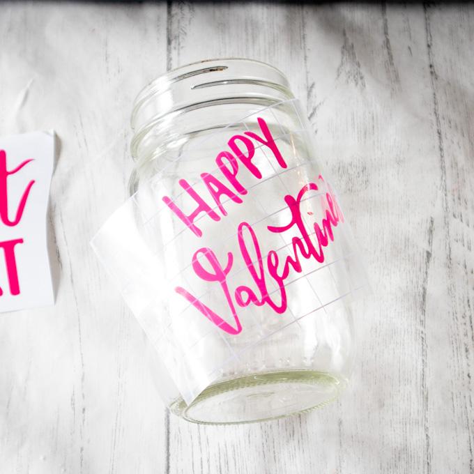 placing phrase on mason jar