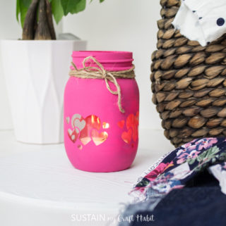 Painted mason jar holder.