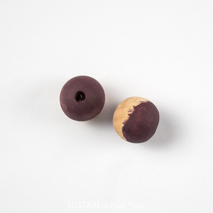 Purple painted wooden beads
