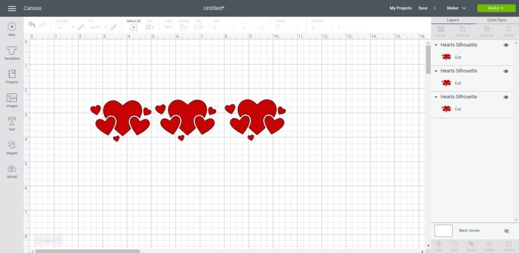 screenshot of heart design duplicated