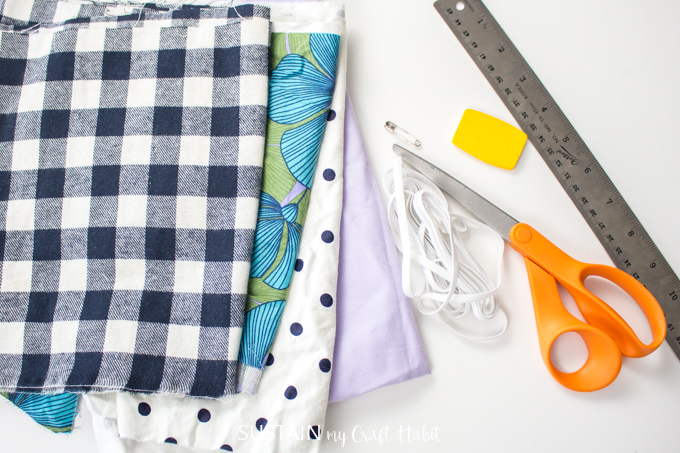 supplies needed to make a scrunchie with a hair tie or rubber band