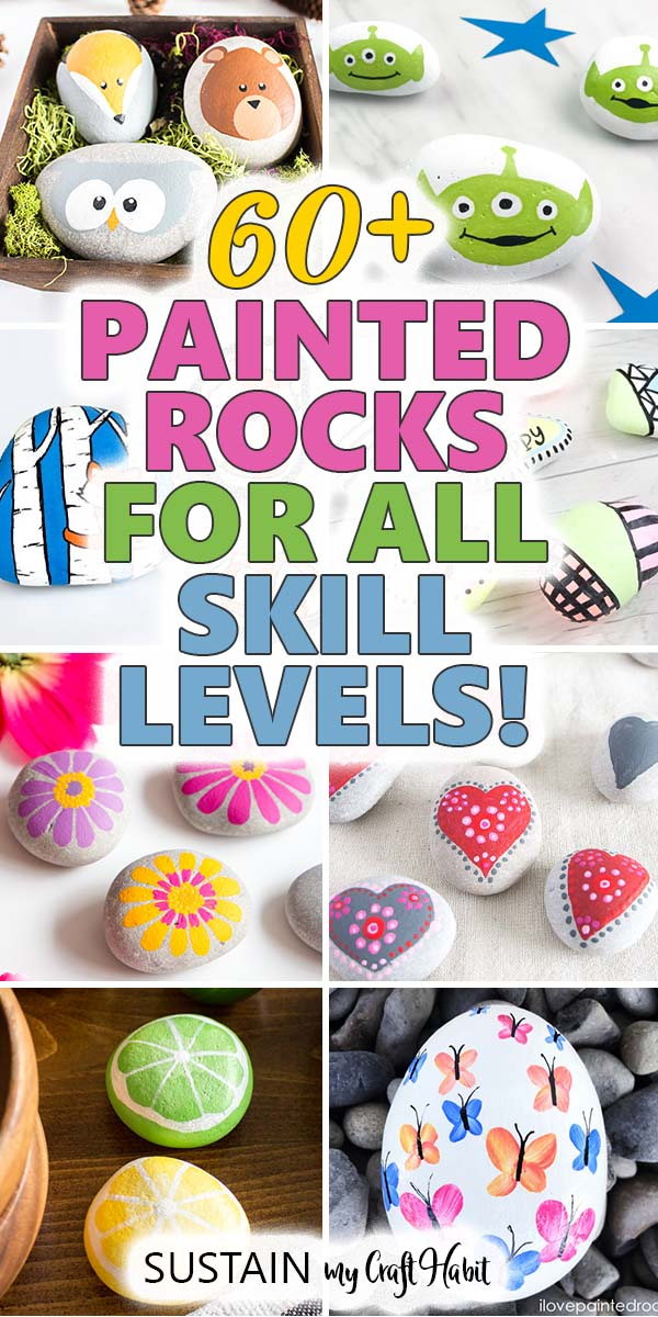 Collage of examples of painted rocks with text overlay.