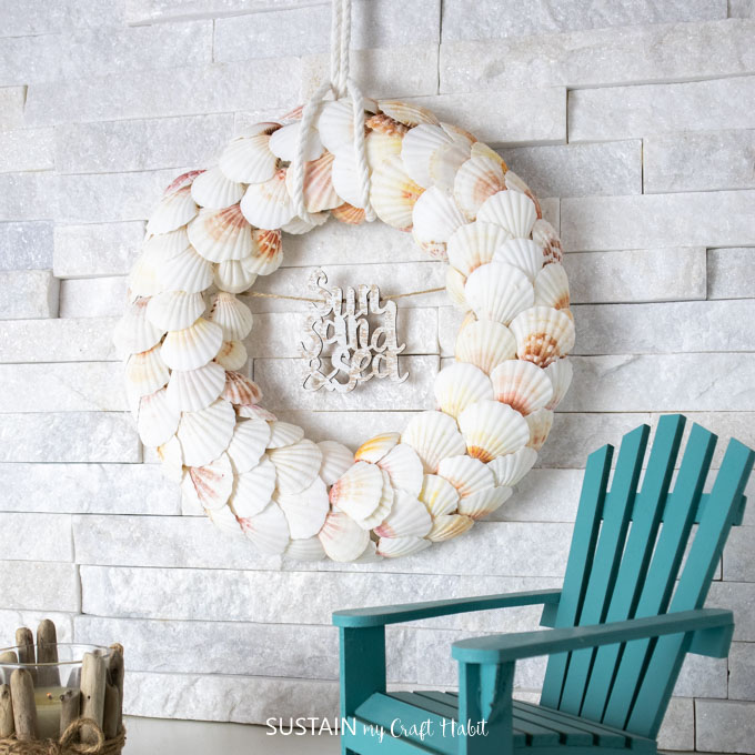 beautiful coastal seashell wreath