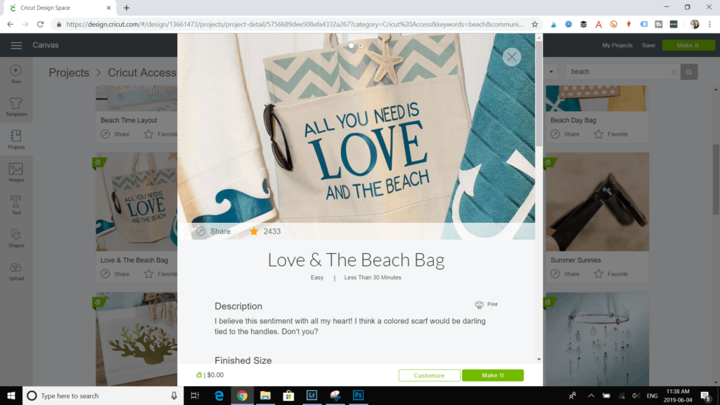 """All You Need Is Love and the Beach"" project template on Design Space."