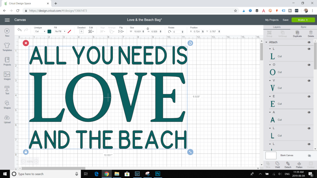 "Customizing the lettering of ""All You Need Is Love and the Beach."""