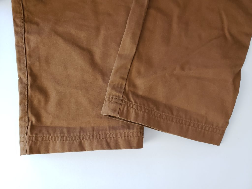 Example of a pair of pants with a stitched hem.