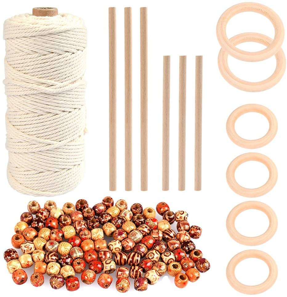 Product images of basic bulk materials from a macrame kit including cord, wood dowels, rings and beads.