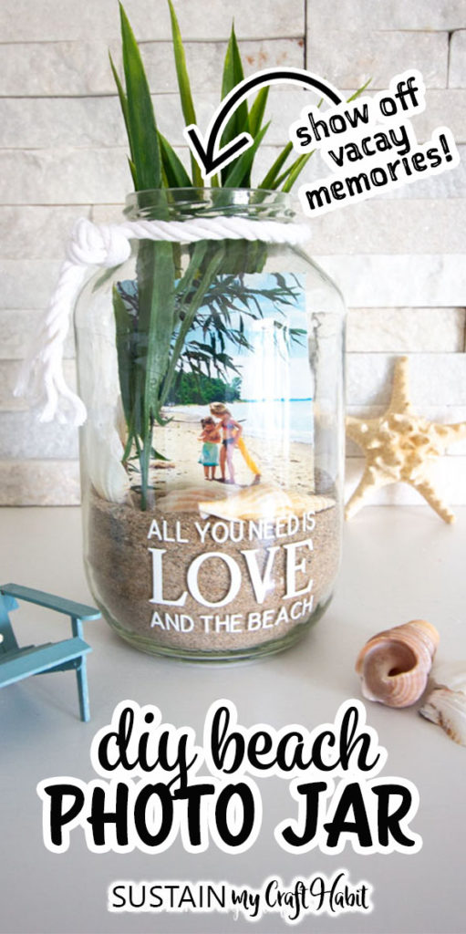 diy beach photo display jar filled with sand and other beachy accessories