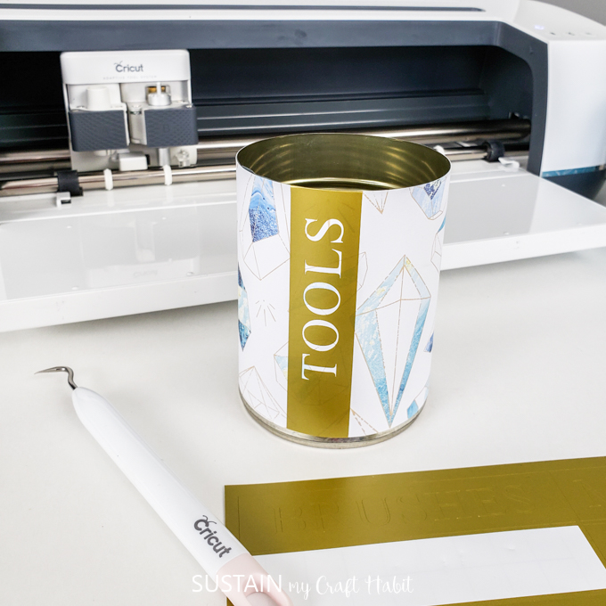 fold over or trim the excess label to finish