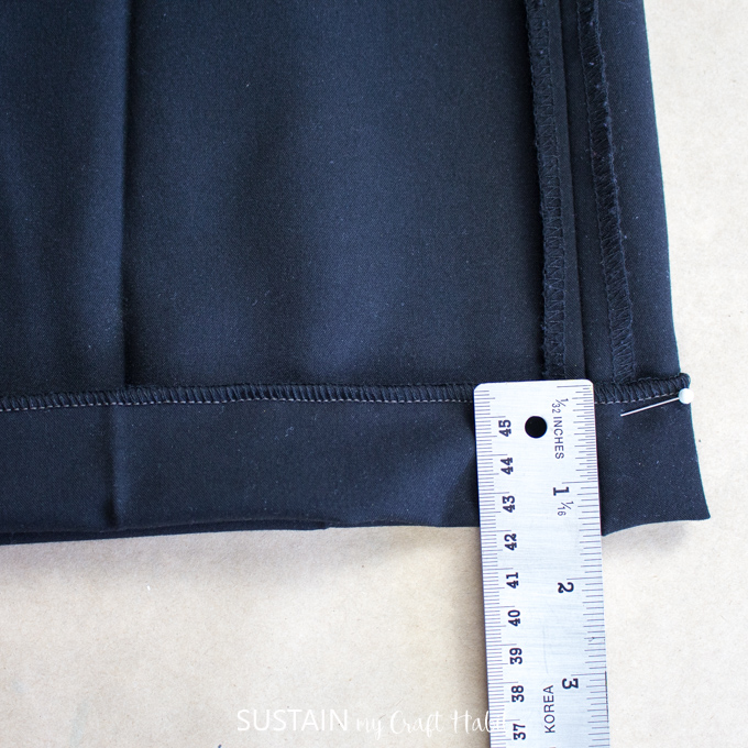 fold new hem on a flared leg dress pant