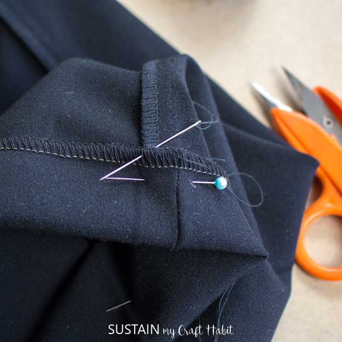 sewing a blind stitch on a dress pant