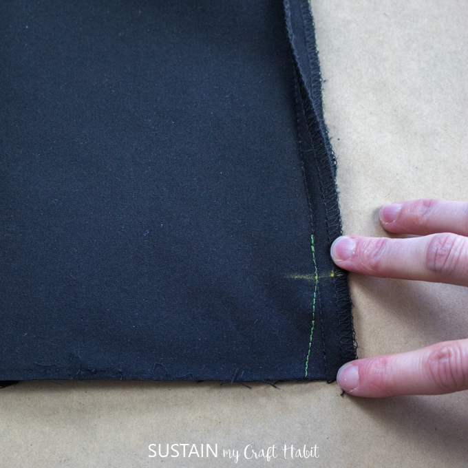 angle stitch the inner leg to shorten a flared leg pant