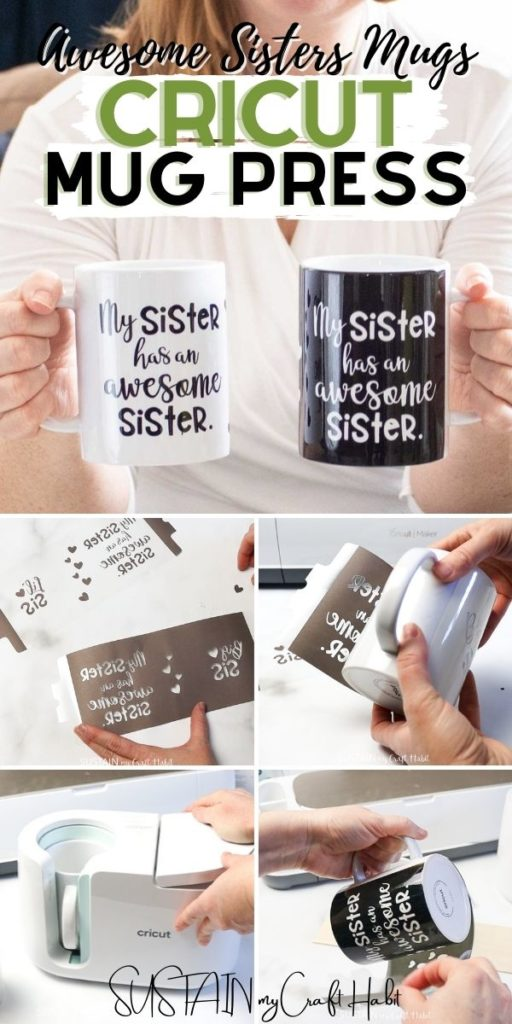 Collage of images showing how to design a pair of mugs for sisters