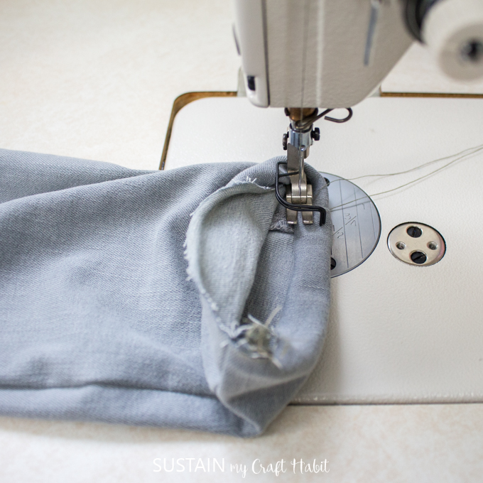 sewing double fold hem on a straight leg pant