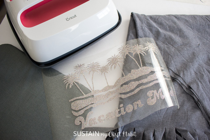 prepare materials to heat press iron on vinyl