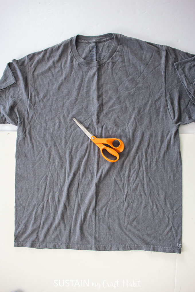 prepare materials - tshirt and scissors