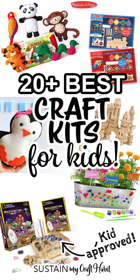 Collage of images against a white background with text overlay saying 20 best craft kits for kids.