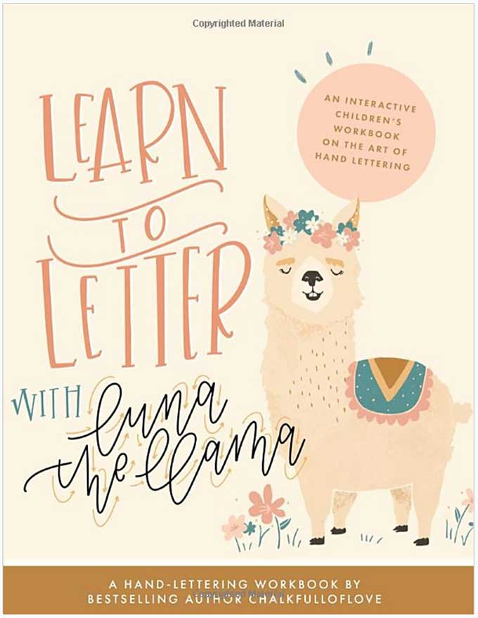 A book about hand-lettering with a llama on the front.