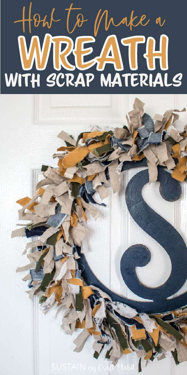 making a wreath with scrap materials