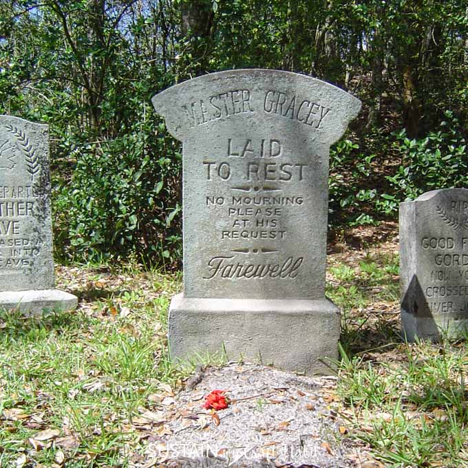 The mock-gravestones at the entrance to the Haunted Mansion at Magic Kingdom