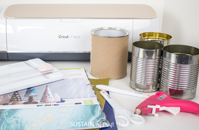 supplies needed to make modern upcycled tin can craft storage