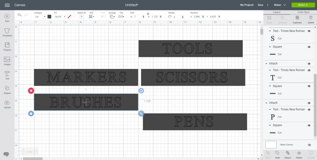 setting up the labels on a canvas in Design Space
