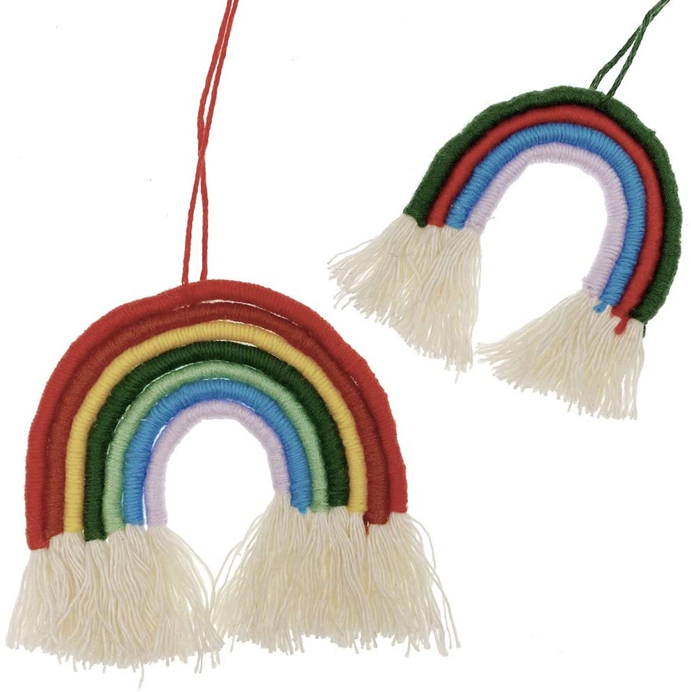 Two completed rainbow macrame wall hangings against a white background.