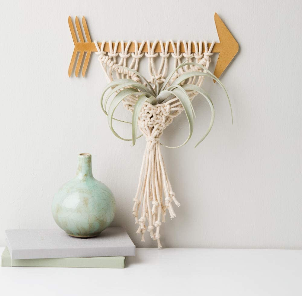 Adorable macrame plant hanger made with a wooden arrow foundation.