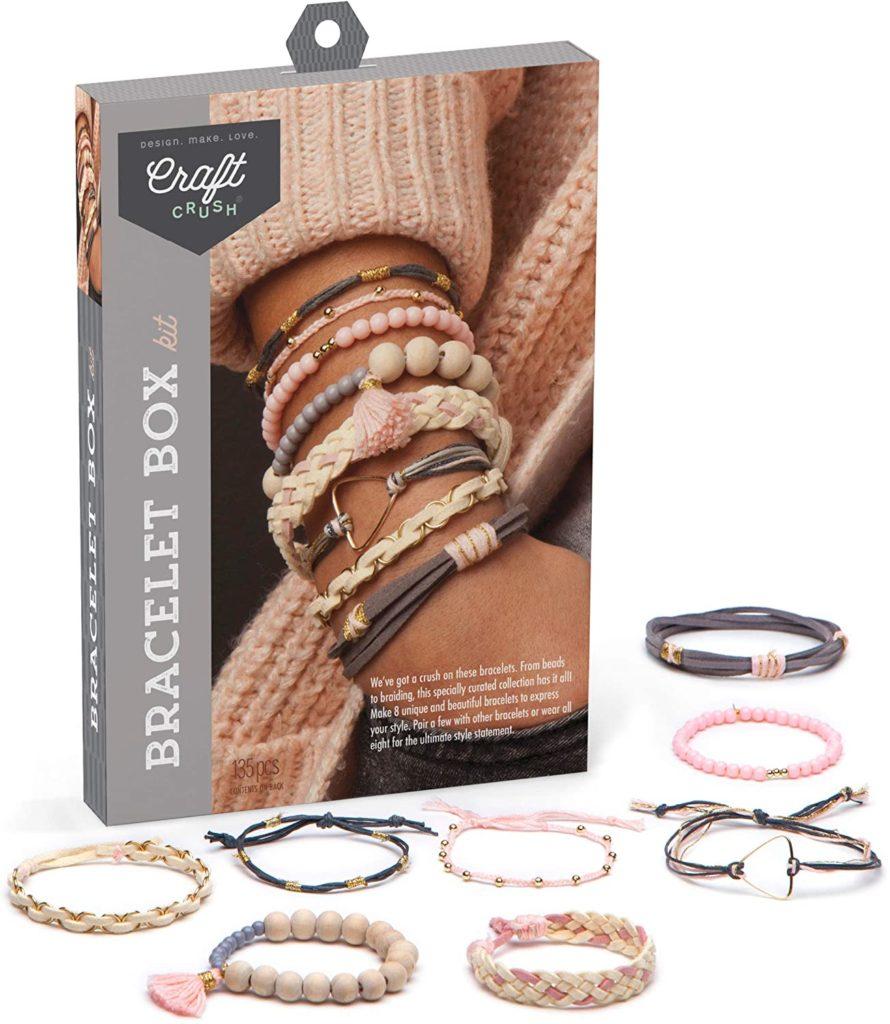 Product image of a DIY macrame kit to make eight stylish bracelets.