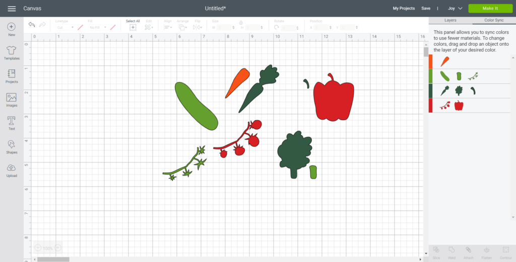 Using the color sync tab to sort each vegetable image by color.