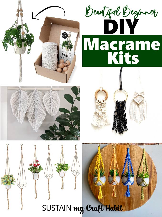 A collection of macrame kits available for purchase.