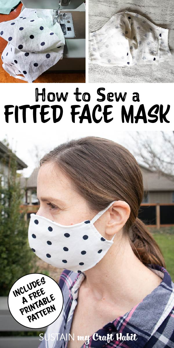 "Wearing a polka dot fitted face mask with text overlay ""How to sew a fitted face mask."""