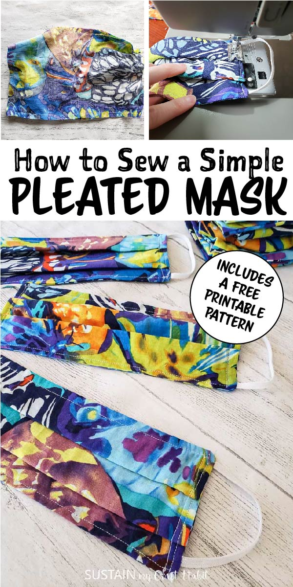 Sewing fabric and finished pleated fabric mask with text overlay.