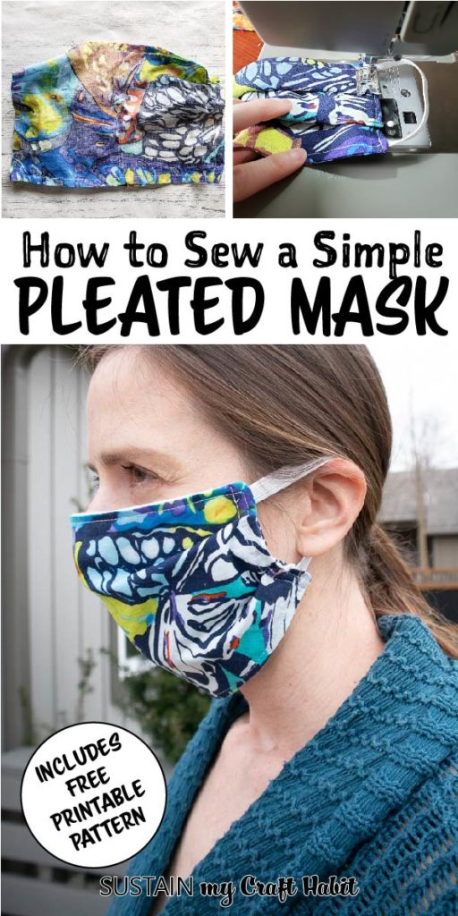 wearing a pleated face mask