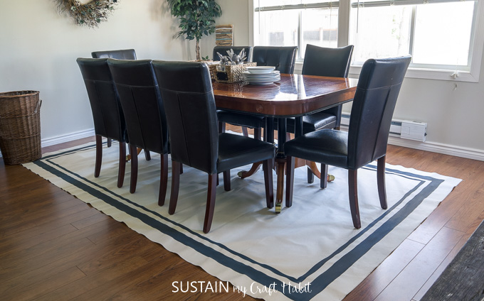 large canvas DIY are rug with painted modern stripes