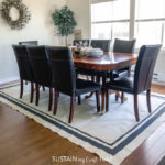 painted canvas DIY rug under dining table