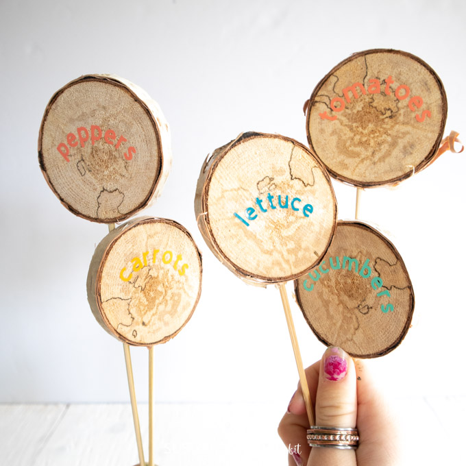 a set of 5 DIY garden markers using wood slices